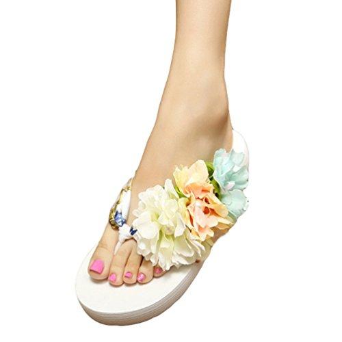 YOUJIA Mujeres Boho Flores Chanclas Verano Playa Zapatos de cuña Plataforma Zapatillas #2 Blanco