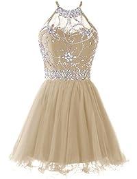 Womens Halter Short Homecoming Dress Beading Tulle Prom Dress