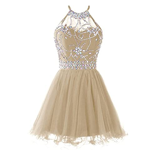 Musever Womens Halter Short Homecoming Dress Beading Tulle Prom Dress Champagne US 6