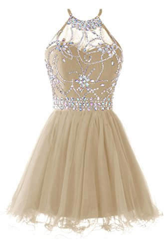 Musever Women's Halter Short Homecoming Dress Beading Tulle Prom Dress Champagne US 14