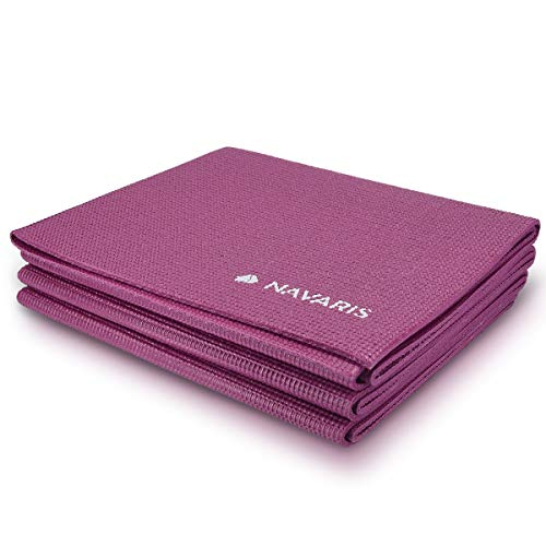 Navaris Esterilla de Yoga Antideslizante - Colchoneta de 173 x 61 x 0.4CM - Alfombra Plegable para Entrenamiento Gimnasia y Pilates