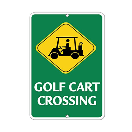 Golf Cart Crossing with Symbol Activity Sign Golf Sign Metal Sign Warning Saftey Sign Pre-drilled Holes for Easy -