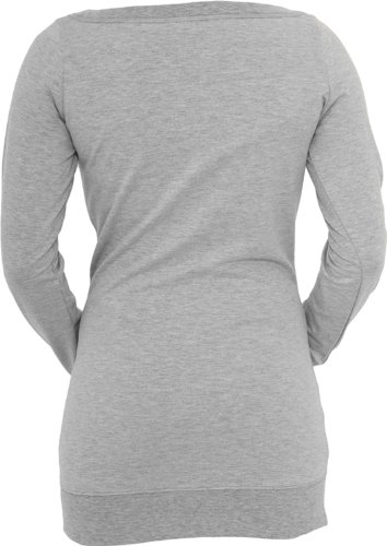 Urban Classics Ladies Long Crewneck TB392, color:grey;size:M