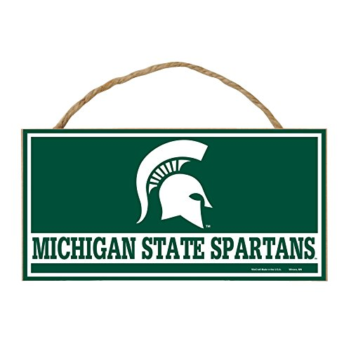 WinCraft NCAA Michigan State Spartans Hardboard Wood Signs with Rope, 5 x 10-Inch, Multi