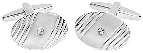 David Van Hagen Mens Shiny Brushed Oval Ribbed Design Crystal Cufflinks - Silver/Clear