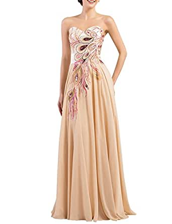 Amazon.com: YanLian Long Strapless Embroidery Prom Dress A