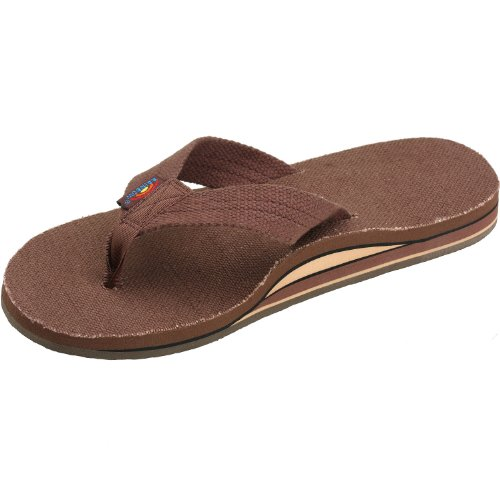 Rainbow Sandals Mens Hemp Wide Strap Double Layer Arch Brown Size XL (11-12)