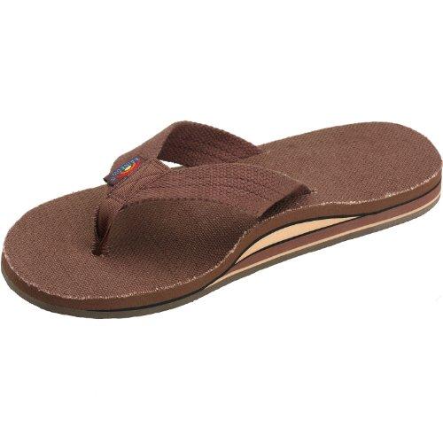 Rainbow Sandals Mens Hemp Wide Strap Double Layer Arch Brown Size Medium (8.5... T0mP6t