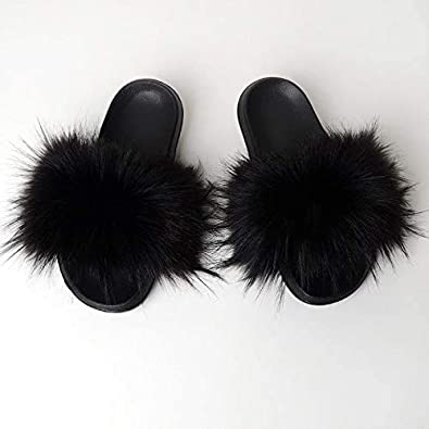 Valpeak Womens Faux Fur Slides Furry Fluffy House Slippers Open Toe Girls Fuzzy Sandals Indoor Outdoor