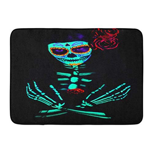 Emvency Doormats Bath Rugs Outdoor/Indoor Door Mat Young Girl Santa Muerte Saint Death Sugar Skull Bright Make Up Studio Photography Neon Light Celebrating Bathroom Decor Rug Bath Mat 16