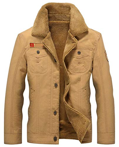 Men's Winter Cotton Warm Thick Men's Jackets Outdoor Ntel Apparel Bomber Parka Windproof Quilted Cashmere Lining Khaki