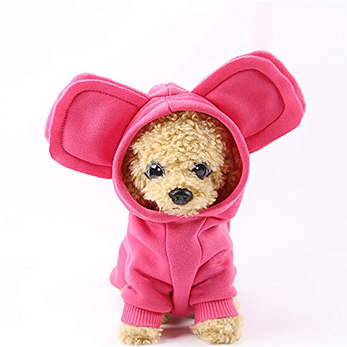 FitfulVan Clearance! Hoodied Sweatshirts Dog Clothes Pet Clothing(Hot Pink,L) -