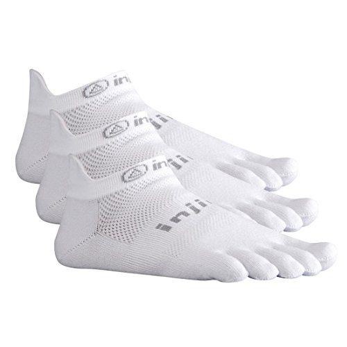 Injinji Run 2.0 Lightweight No Show Toe Socks 3 Pack (White, Medium)
