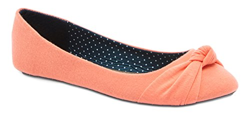 Charles Albert Women's Knotted Front Canvas Round Toe Ballet Flats (9, Coral Suede)