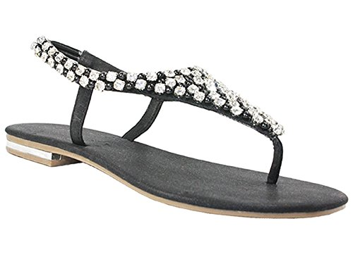 Womens flat sandals diamante pearl ladies sling back holiday casual party shoes Black JiIS8B
