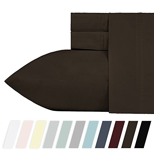 California Design Den 400 Thread Count 100% Cotton Sheet Set, Chocolate Brown King Sheets, 4 Piece Set Long-staple Combed Pure Natural Cotton Bedsheets, Breathable, Soft Sateen Weave Sheet - Cotton 100% Set