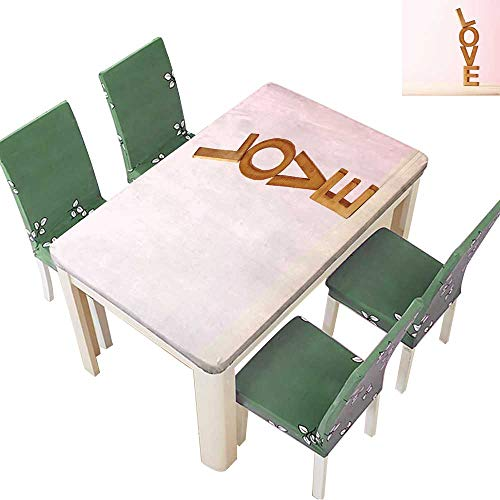 (Printsonne Polyester Table Cloth Love Composition of Wooden Block Letters Agains The Pink Background Table 54 x 72 Inch (Elastic Edge))