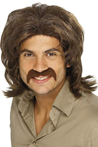 Smiffys Men's 70's Brown Retro Fringed Wig, One Size, 5020570420195 (70's Costume Wig)