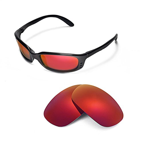 Walleva Replacement Lenses for Costa Del Mar Brine Sunglasses - Multiple Options Available (Fire Red Mirror Coated - - Mar Del Z87 Costa