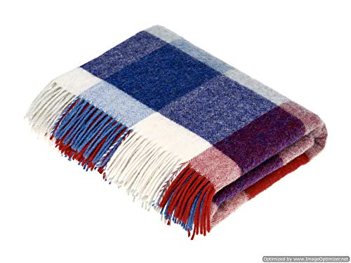 Bronte Moon New England Patriots Football Throw Blanket in Shetland Quality Pure New Wool ()