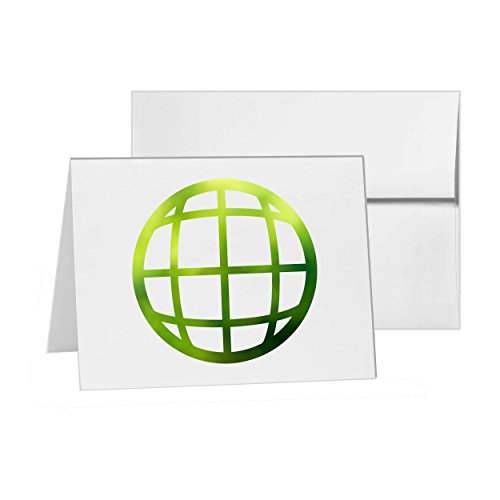 Globe Earth Internet Planet Sphere, Blank Card Invitation Pack, 15 cards at 4x6, Blank with White Envelopes Style 10641 (Earth Style Bit)