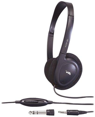 Cyber Acoustics 3.5MM Plug ACM-90 Stereo Headset with Volume Control (Black) Cyber Acoustics Black Headset