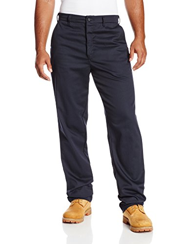 Bulwark Men's Flame Resistant 9 oz Twill Cotton Work Pant, Navy, 42W x 32L