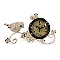 IMAX Corporation Bird Tabletop Clock in Antique White