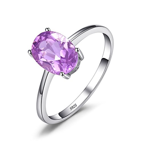 JewelryPalace 1.1ct Natural Gemstones Birthstone Amethyst Solitaire Engagement Ring For Women For Girls 925 Sterling Silver Oval Cut Size 6