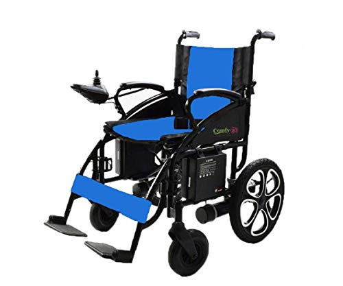 2020 Electric Wheelchairs Silla de Ruedas Electrica para Adultos FDA Approved Transport Friendly Lightweight Folding Electric Wheelchair for Adults (Lead Acid, Blue)