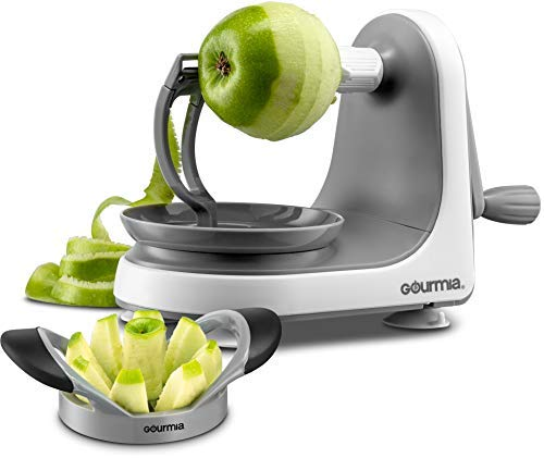 (Gourmia GMS9330 Apple Peeler, Corer and Slicer - Suction Non Slip Counter Grips - Automatic Hand Crank - Ultra Sharp Stainless Steel Blades - BPA Free - Peels, Cores and Cuts in Seconds)