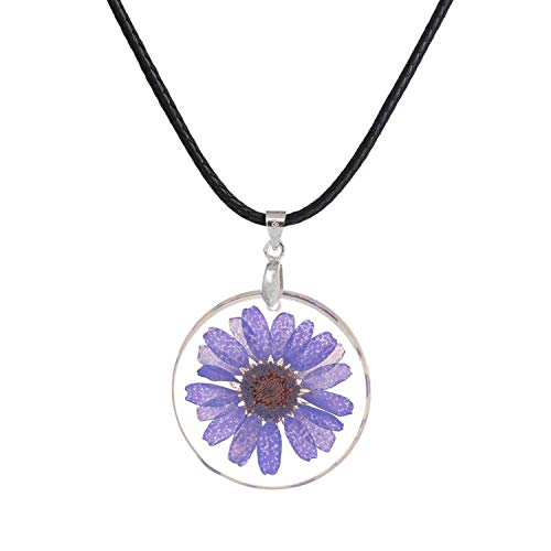 - ihuoshang Handmade Transparent Resin Dried Flower Daisy Necklace Ball Chain Silver Color White Round 45cm Long,Purple2