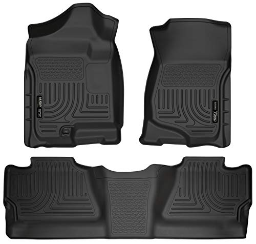 Husky Liners 98201 Black Weatherbeater Front & 2nd Seat Floor Liners Fits 2008-2013 Chevrolet-GMC Silverado/Sierra 1500 Crew Cab Pickup, 2007-2014 Chevrolet-GMC Silverado/Sierra 2500/3500 Crew Cab