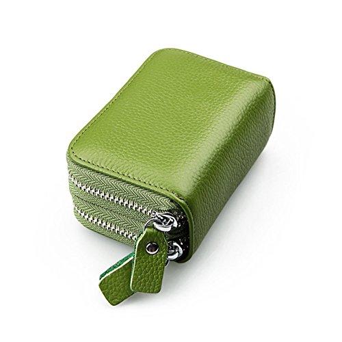 Reise Kreditkarte Brieftasche, Leder Kartenhalter für Frauen Männer mit Slots und Reißverschluss