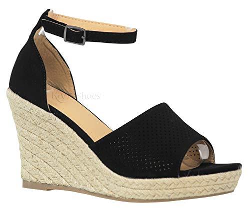 MVE Shoies Womens Stylish Comfortable Ankle Adjustable Strap Open Toe Wedge Sandal, Black 7