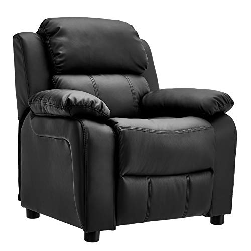 JC Home Kids Deluxe Padded Leather Recliner with Storage Arms, Black