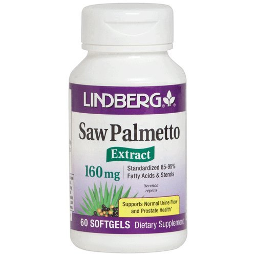 Lindberg Saw Palmetto Extract 160 Mg, 60 Softgels - Standardized to 85-95% Fatty Acids and (Extract Standardized 60 Softgels)
