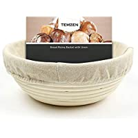 (22cm) Proofing Basket Round Banneton Set - Handmade Natural Rattan Bowl for Bread Baking with Cloth Liner Perfect Kit for Homemade Bread Easy to Wash Simple to Shape Dough Bakers