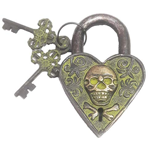 - Padlock-Functional Brass Beautiful Padlocks with Two Keys Man Skull Engraved Antique Finished Lock for Gym, Sports, School & Employee Locker, Outdoor, Fence, Hasp and Storage