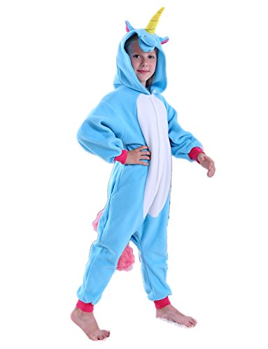 Ifboxs Kids Unicorn Onesie Pajamas Cosplay Halloween Costume for Girls and Boys (Blue, 8)