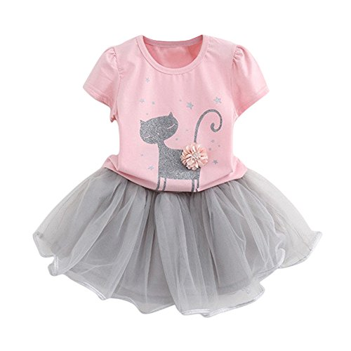 Creazrise Girl Cartoon Cat Printed 3D Sequin Bow Sparkle Tutu Butterfly Tulle Skirt Dress Sets Pink ()