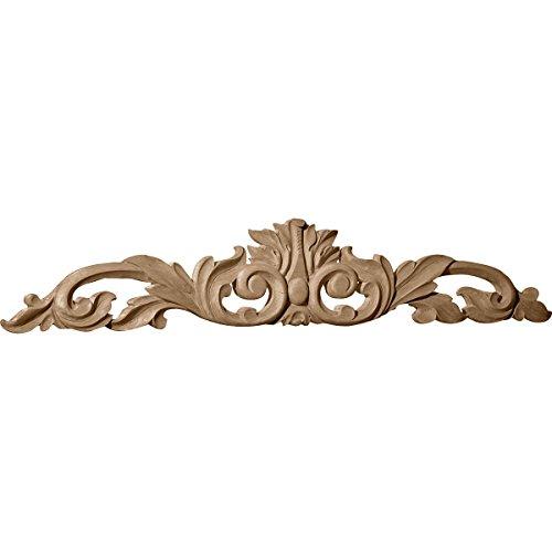 Carved Wood Trim - Ekena Millwork ONL36X06X01LFLW Large Green Leaf Center with Scrolls, 36 1/2-Inch x 6 1/4-Inch x 1-Inch, Lindenwood