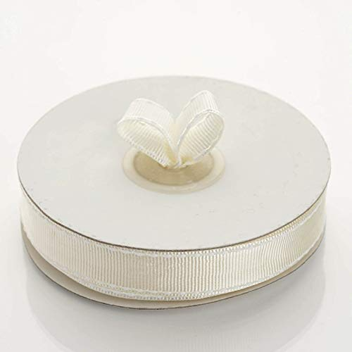 """Tableclothsfactory 5/8"""" Grosgrain Ribbon with Stitched Edges-Ivory"""
