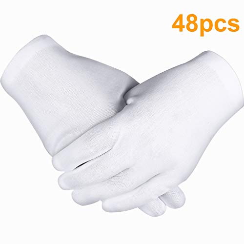 Zhehao 24 Pairs White Gloves, Cotton Gloves, Coin Jewelry Silver Inspection Gloves, Stretchable Lining Gloves (48 Pieces)]()