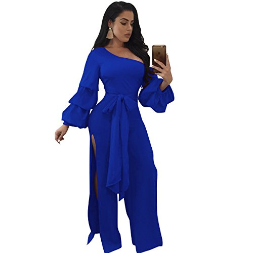 Speedle Womens Sloping Shoulder Long Sleeves Double Layers Lace up Split Jumpsuit Romper Blue L