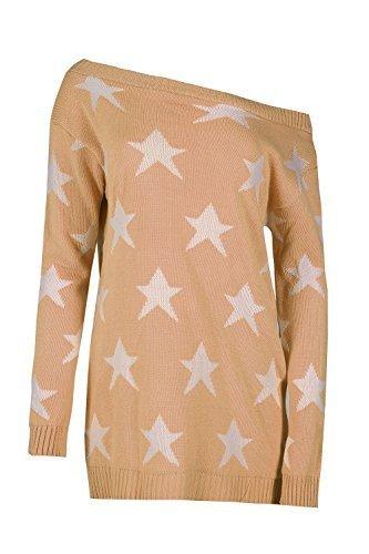 femmes Off the épaule ouverts étoile complet manches haut pull vêtements en tricot femmes chaude bouffant décontracté fête surdimensionné Tricot - Taupe, Plus Size (UK 16/18)