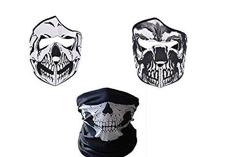 3 x Biker / Ski / Snowboarding Skull Masks 1 x Neoprene Full Face Skull Mask + 1 Half Face Skull Bandanna Neck tube Mask