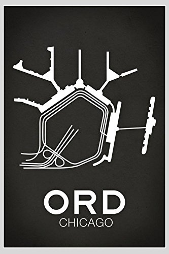 Laminated ORD Chicago Airport Art Print 24 x - Airport Ohare Map Chicago