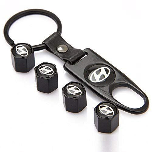 Steel Tire Black - INCART Universal Steel (4pcs) Car Tire Valve Stem Air Caps Cover + (1pcs) Keychain for Hyundai Black