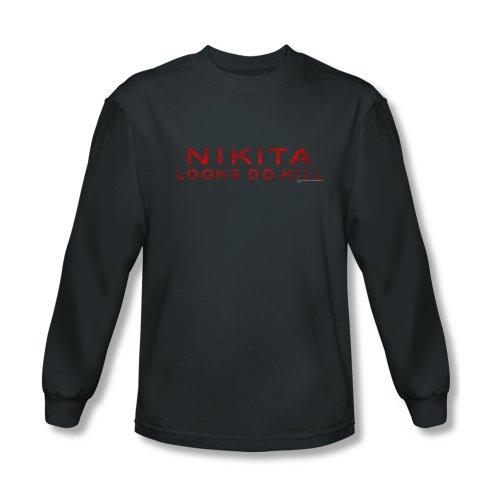 Nikita Logo Men's Long Sleeve T-Shirt Large Charcoal
